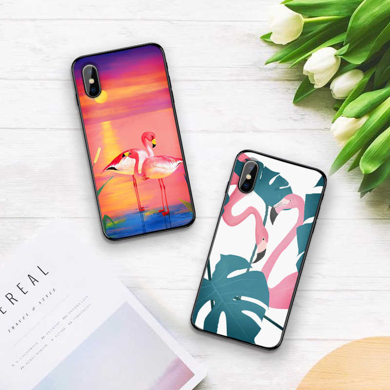 Tropical flamingos สำหรับ iPhone 6 6S 7 8 Plus X XS XR XS Max 5 5S TPU นุ่ม protector โทรศัพท์กลับกรณีเปลือก