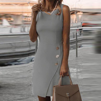 White Dress Office Dress Casual Summer Sleeveless Solid Color Temperament Dress Dresses for Women Autumn Casual Cocktail Dress Dresses Elegant Dresses Evening Knee-Lenght Mini O Neck Party Print Dresses Sexy Sleeveless Slim Summer Women Color: Gray Size: 5XL