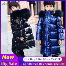 Russian Winter Coats 2020 New Brand Hooded Big Fur Collar Winter Jackets Parkas For Teenagers Boys Thick Long Coat Kids Clothes
