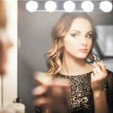 5 лампочек зеркало для макияжа с подсветкой фары Instal светодиодный удобный присоска макияж лампа светодиодный зеркальный свет на батарейках подарок Прямая поставка