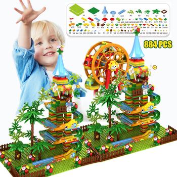 Marmur wyścig działa klocki klocki lejek slajdów DIY klocki edukacyjne dla dzieci zabawki marmuru Run tanie i dobre opinie CN (pochodzenie) Z tworzywa sztucznego Do Not Eat 2-4 lat 5-7 lat Zwierzęta i Natura Construction Building Blocks