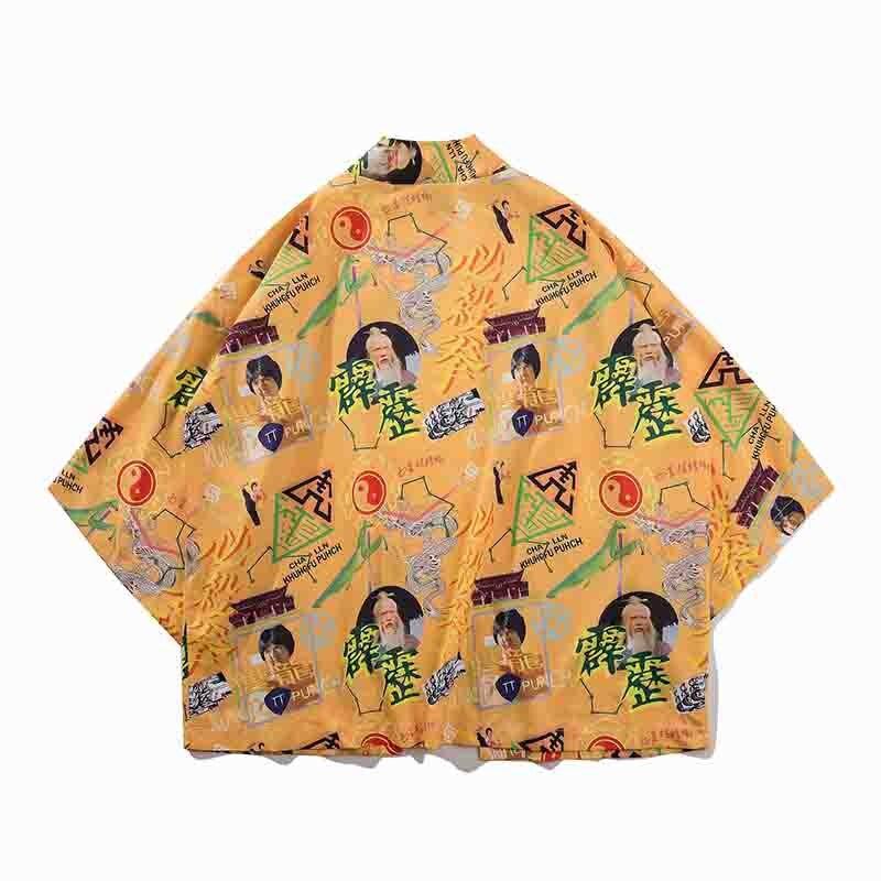 Yellow Print Male Japanese Style Kimono Spring Summer Autumn Kimono Cardigan Harajuku Casual Shirt Men Oversize Yukata