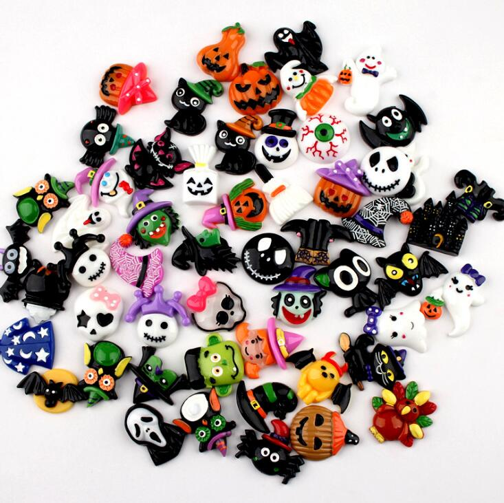 10pcs Halloween Ghost Pumpkin Resin Cabochons Flatback DIY Crafts FO