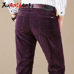 Nowy sztruks codzienne męskie spodnie 2019 klasyczny biznes w średnim wieku proste stretch casualowe w stylu streetwear marki wino czerwone spodnie na co dzień