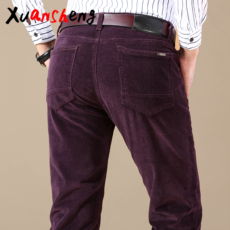 new-corduroy-men's-casual-pants-2019-classic-middle-aged-business-straight-stretch-casual-streetwear-brand-wine-red-casual-pants