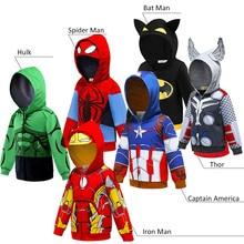 Толстовка с капюшоном для маленьких мальчиков с героями мультфильмов «Железный человек», «Капитан Америка», «Тор», «Халк», «Бэтмен», свитер Супермена, детская одежда с героями мультфильмов