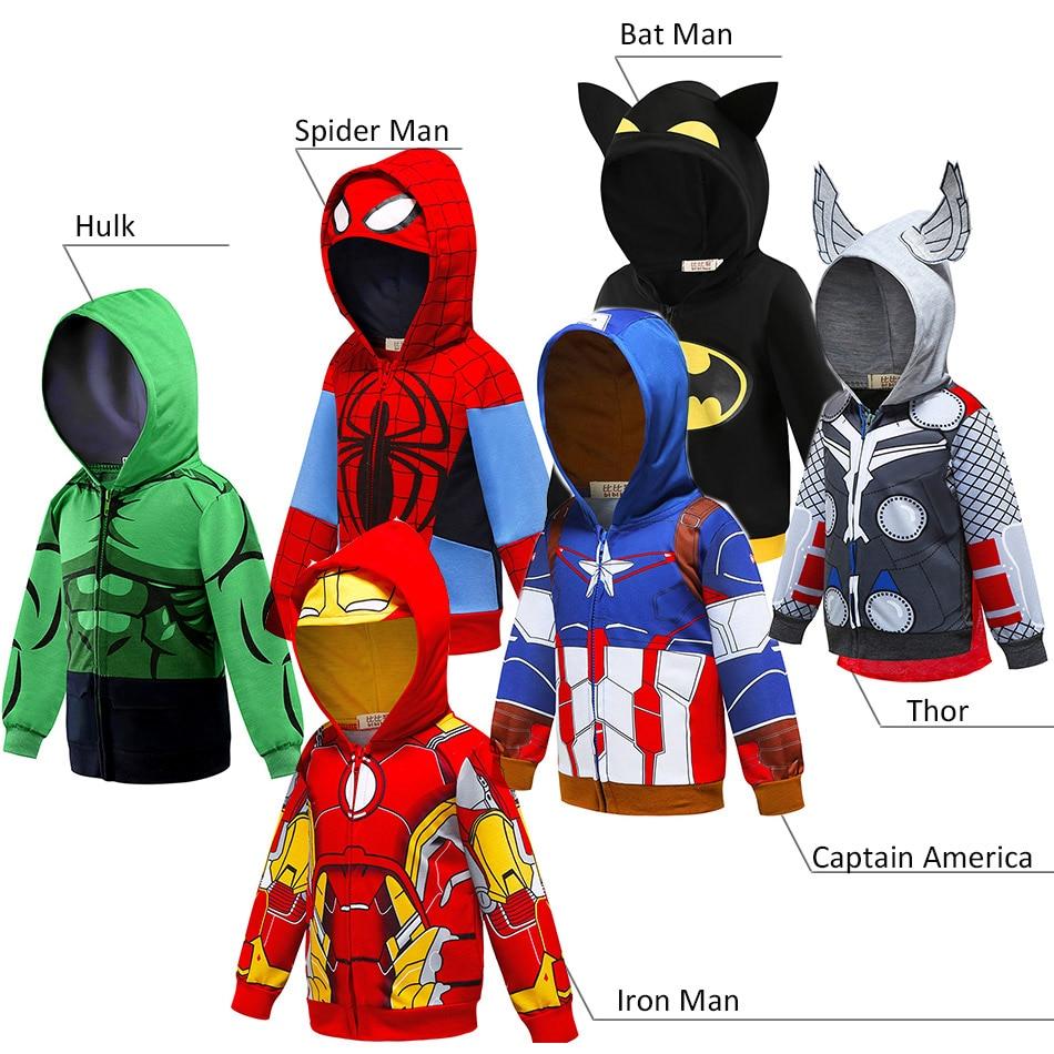 Baby Boys Superheroes Cartoon Hoodie Iron Man Captain America Thor Hulk Bat Man Superman Sweatshirt Kids Toy Story Cars Clothes