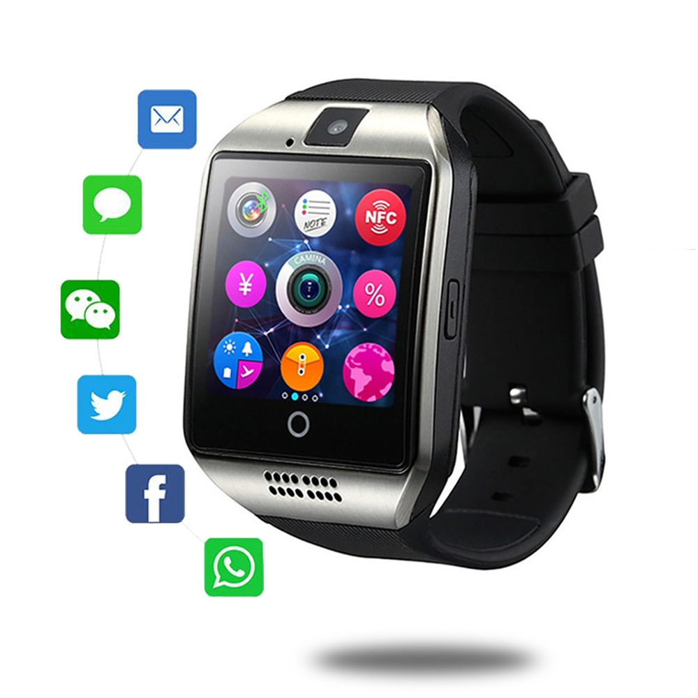 Support SIM TF Card For IOS Android Bluetooth Smart Watch Q18 With Camera Facebook Whatsapp Twitter Sync SMS Smartwatch