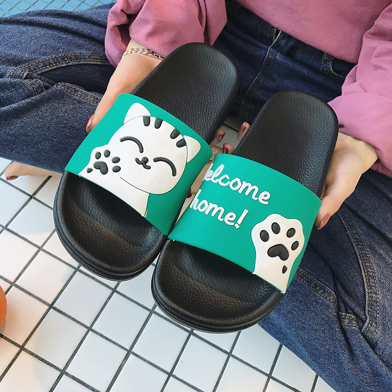 Lucky Cat Indoor Slippers Female Summer Couples Home Household Bathroom Bath Anti-slip Sandals Men And Women Outer Wear Soft Bot