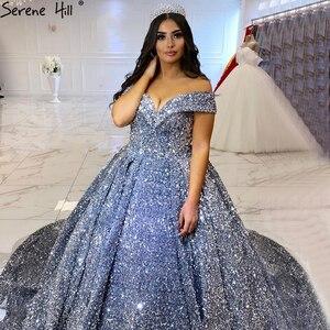 Image 2 - Vestidos de lentejuelas para bodas grises y plateadas, sin mangas, Dubái, sexys, de lujo, Serene Hill HM66742, hechos a medida, 2020