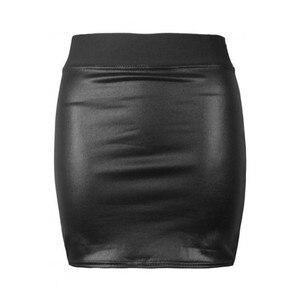 Image 4 - Женская облегающая юбка карандаш, облегающая мини юбка из мягкой искусственной кожи с высокой талией, вечерние Облегающие юбки черного цвета, один размер