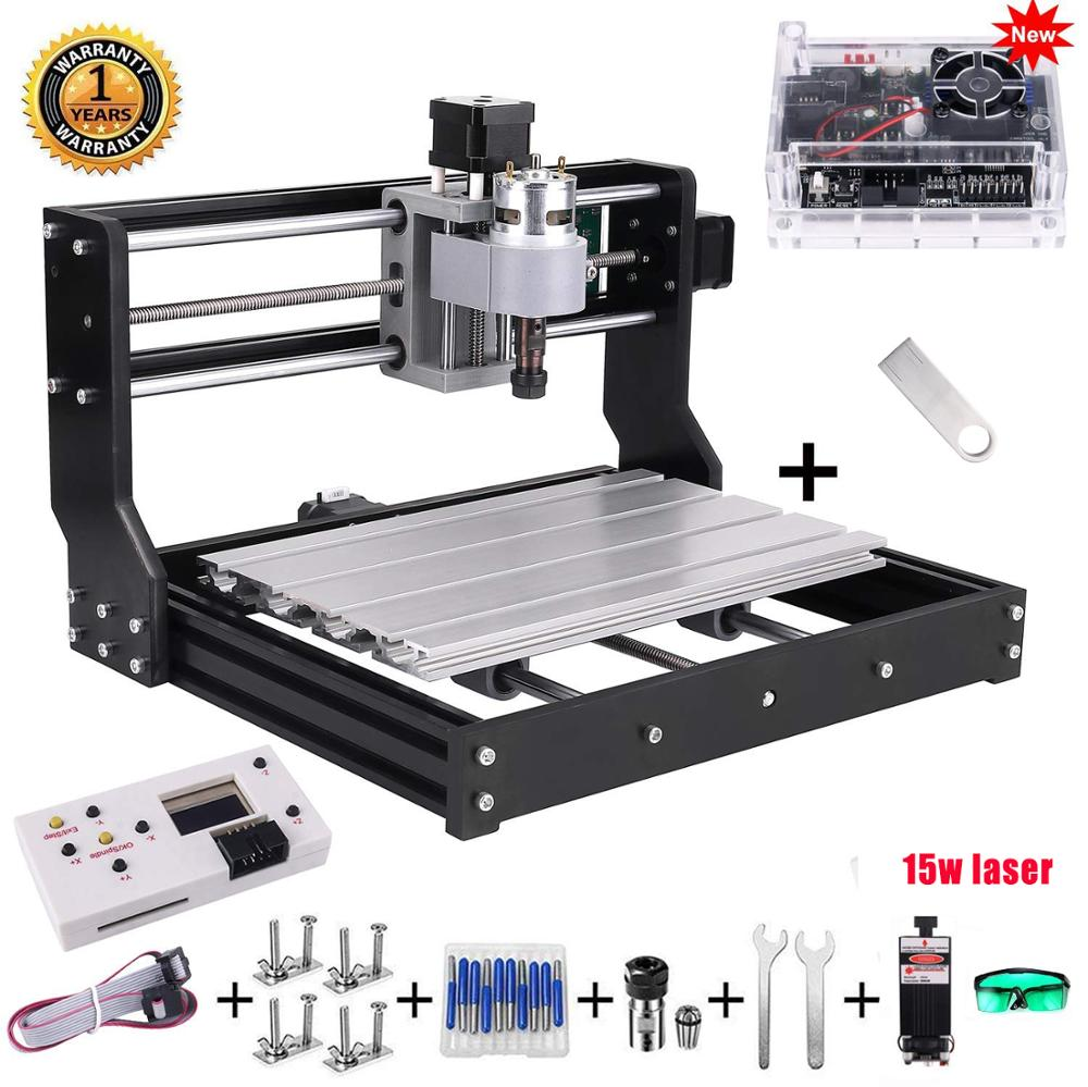 CNC 3018 פרו 10w/15w לייזר DIY מיני מכונת CNC עם מחובר הבקר 3 ציר כרסום מכונת GRBL בקרת ER11 לייזר חרט