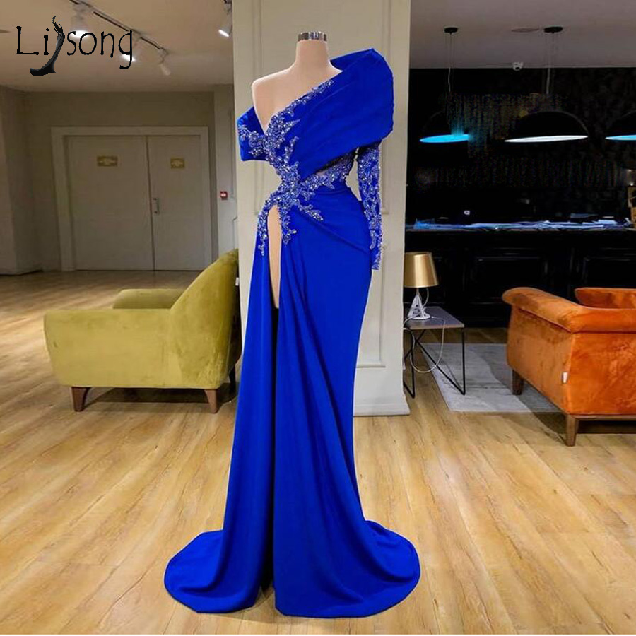 Real Image Royal Blue Mermaid Evening Dresses One Shoulder Lace Beaded High Side Split Sexy Prom Gowns Appliques Party Dress