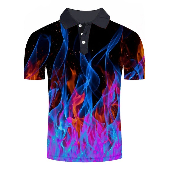 Mens Fashion 3D Printed Short Sleeves Polo Shirt Blue Red Flame 2019 New Summer Loose Slim Fit Casual Polo Shirt