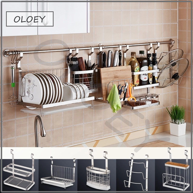 US $15.48 5% OFF|DIY stainless steel kitchen rack storage rack rack cutting  board 304 stainless steel wall mounted kitchen accessories-in Wall Mounted  ...