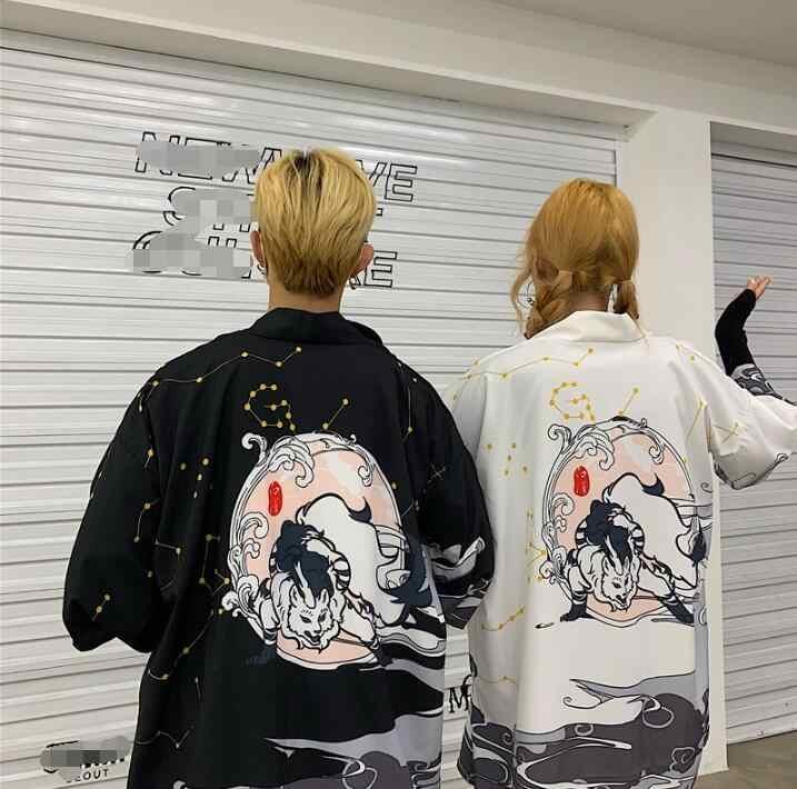 קיץ זוג קרדיגן יפני סגנונות קימונו יאקאטה אישה איש רופף דק תלמיד בגד חיצוני