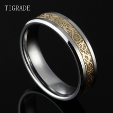 6mm& 8mm Men Women Tungsten Carbide Ring Wedding Band Gold Celtic Dragon Inlay Polished Finish Edge Fashion Jewelry Comfort Fit 6mm black tungsten rings for men silver color celtic dragon blue background wedding rings sets fashion jewelry
