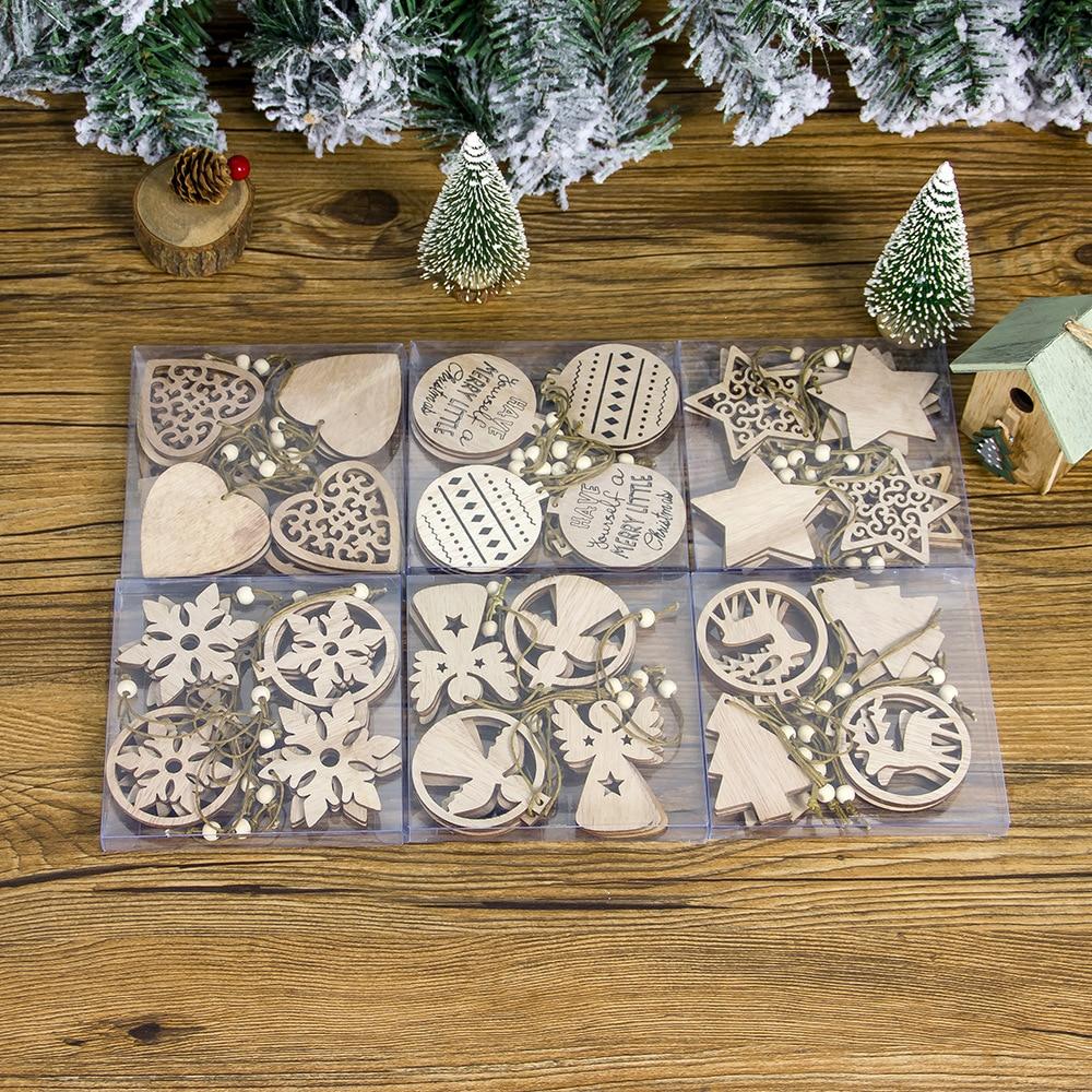 12pcs Happy New Year Wooden angel snowflake Christmas Pendants Craft Christmas Tree Decoration For Home 2019 Navidad Ornaments(China)
