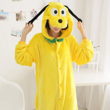 Animal Kigurumi Adult Pluto Onesie Pajamas High Quality Flannel Family Party Yellow Dog Kids Cosplay Costumes Jumpsuits Zipper