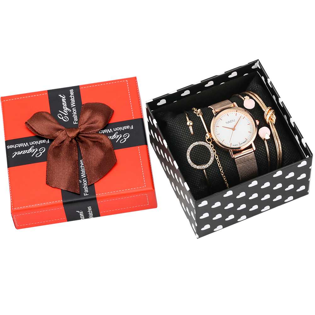 Women's Bracelet Watches Set Rose Gold Quartz Analog Watches For Ladies Stainless Steel Strap Wristwatch For Female