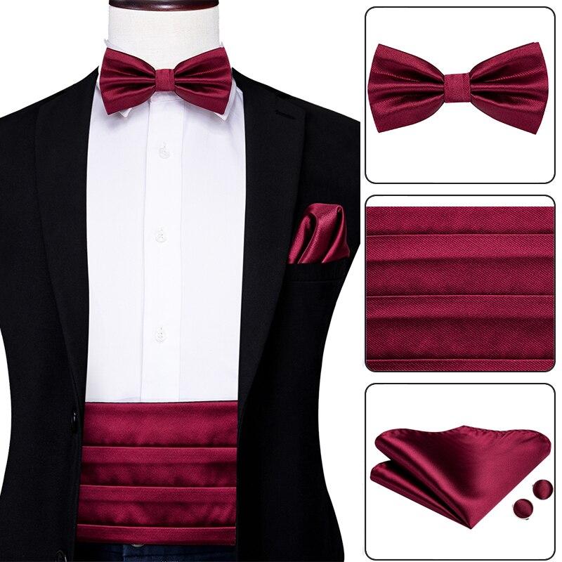 Hi-Tie Silk Adult Men's Cummerbund Set For Men Suit Solid Plain Red Wine Pure Color Suit Cummerbund Elastic Waistband Wide Belts