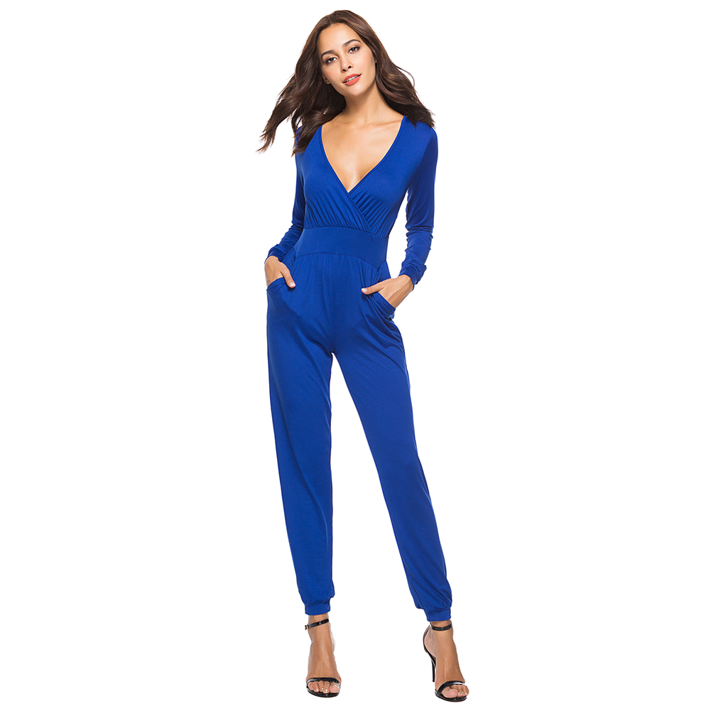 Women Jumpsuit Business Long Pants Sleeve High Waist Harem Bodysuit Casual Elegant Ladies Clothes