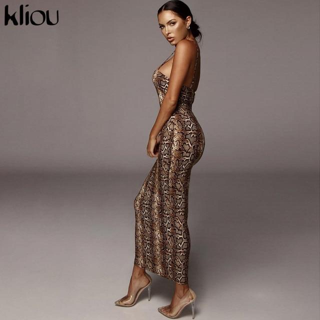 Kliou Sexy Serpentine print Women sleeveless Backless Elegant Slim Pencil Dress 2020 Adjustable shoulder strap banquet Dress 2