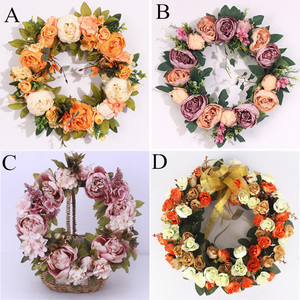 Image 5 - multiple styles Silk Peony Artificial Flowers Wreaths Door Perfect Quality simulation Garland For Wedding Home Party decoration