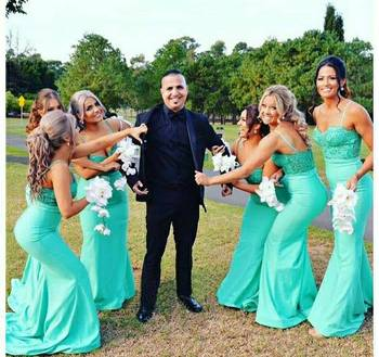 Vintage Long Satin Lace Mermaid Bridesmaid Dresses Spaghetti Straps Custom Up Formal Wedding Party