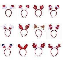 Headband Cute Christmas Theme Santa /Snowman /Deer /Bear/ Glove /Horn Non-woven Kids Head Clasp Xmas Gift Home Decoration