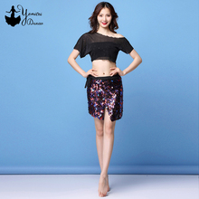 Brand New Womens Bellydance Costume Set Short Off Shoulder Top Sexy Color Sequins Belly Dance Skirt Short Length High Quality