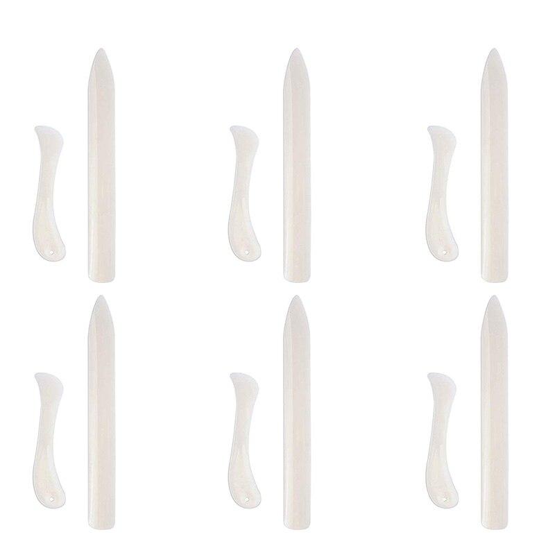 HOT-12 Pcs Bone Folder Paper Creaser Set Scoring Tool Crafting Scrapbooking Tool For DIY Handmade Leather Burnishing Bookbinding