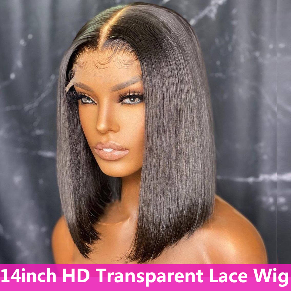 4x4 Transparent Bob Cut Lace Closure Human Hair Wigs For Black Women Straight 4x4 Lace Wig Brazilian Remy Hair 150 Density