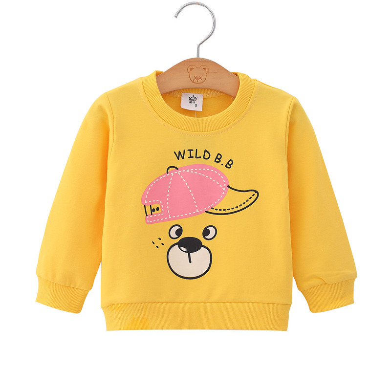 Toddler Active Infant Baby Girls Yellow Dog Print Sweatshirt Cotton Tops Pullover Daily Party Blouse Boys Sweatshirts