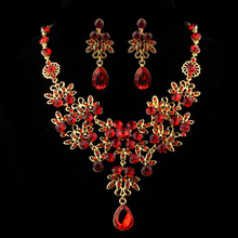 Necklace Earrings Bridal-Jewelry-Set Rhinestone Wedding Crystal Women's Classic Red Hot-Sale