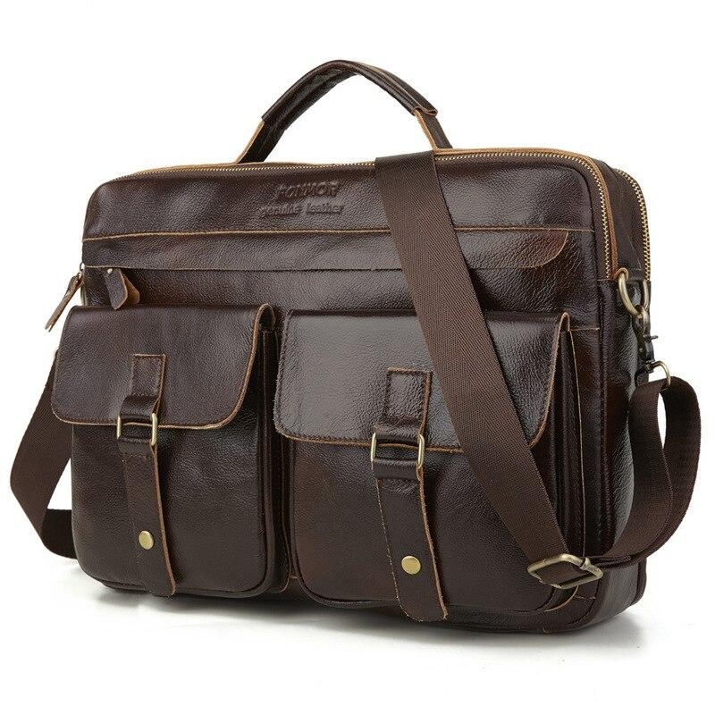 Men Briefcase Bag High Quality Business Famous Brand Leather Shoulder Messenger Bags Office Handbag   Leather Laptop Bag