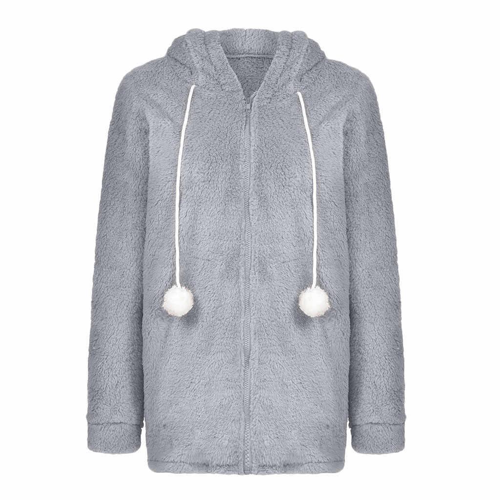 코트와 재킷 여자 숙녀 겨울 따뜻한 가짜 모피 코트 재킷 솔리드 후드 토끼 귀 겉옷 chaquetas mujer 2019 # B20