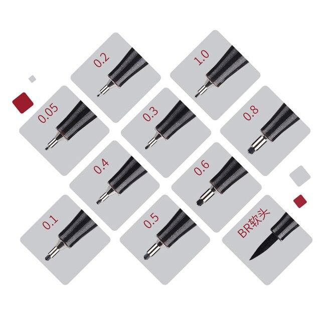 10 Pcs/Set Pigment Liner Micron Ink Marker Pen 0.05 0.1 0.2 0.3 0.4 0.5 0.6 0.8 1.0 Brush Tip Black Fineliner Sketch Drawing Pen 2