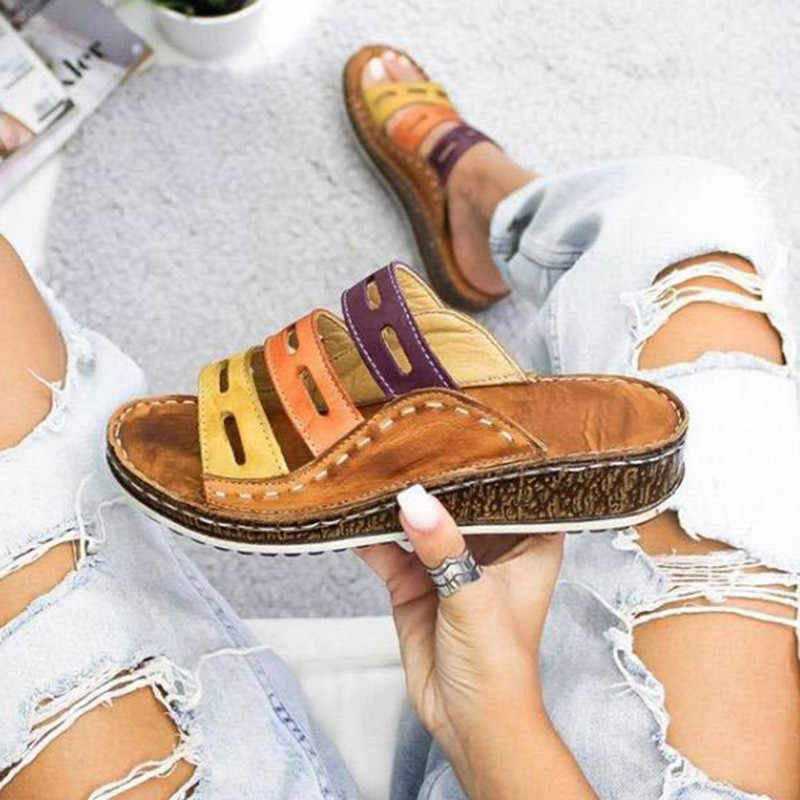 Vrouwen Slippers Gemengde Kleur Schoenen Hollow Wiggen Platform Platte Zool Strand Muilezels Dames Slides Party Sandalen Zapatos Mujer Kf61