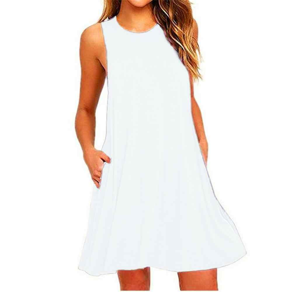2019 Summer Sleeveless Party Casual Dating Dress Women Loose S 2XL Large Size Round O-Neck Pocket Solid Dress Female Vestidos