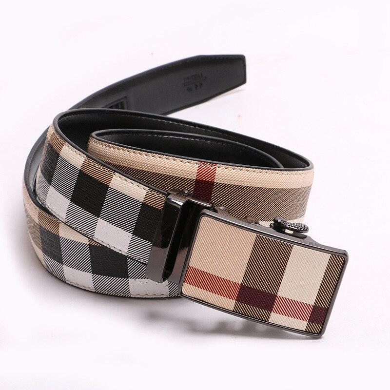 New Fashion Designer Unisex Belt Fabric Real Cowhide Plaid Automatic Buckle Belt Business Jeans Fashion Belt