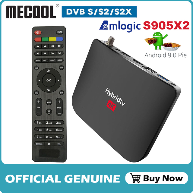 Mecool Satellite Receiver DVB S2/S2X Android 9.0 2GB 16GB Amlogic S905X2 WiFi 4K TV Box PVR Recording Youtube M8S PLUS Console