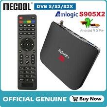 Mecool Vệ Tinh Đầu Thu Kỹ Thuật Số DVB S2/S2X Android 9.0 GB RAM 16GB Amlogic S905X2 Wifi 4K Tivi Box PVR Ghi Âm Youtube M8S Plus Tay Cầm