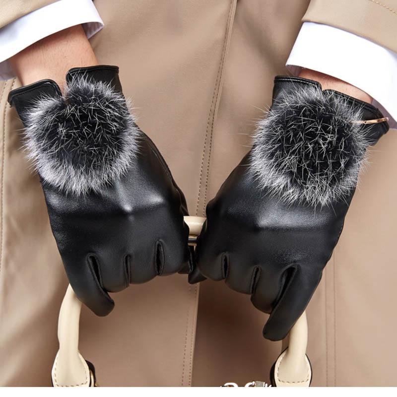 Calymel New Arrival Gloves Lady Gloves Autumn Winter Warm Rabbit Fur Hairball Gloves Women's Warm Gloves Fashion