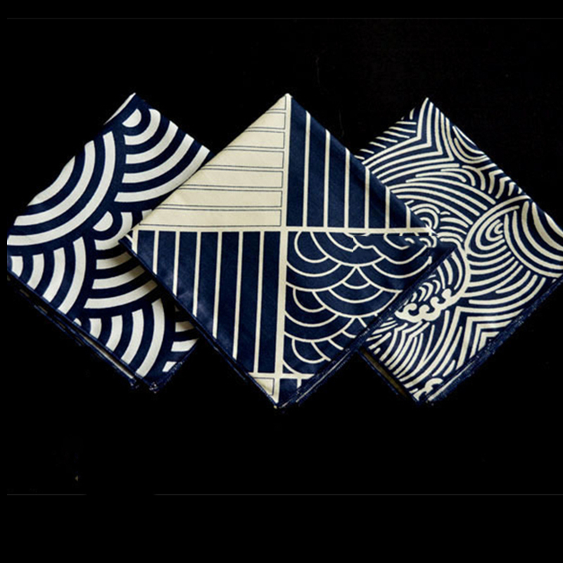 Furoshiki Poszet Kajapanese Style Big Hand Kerchief Furoshiki Japan Classic Tradition Waves Clouds Grid Printed 25cm / Many Uses
