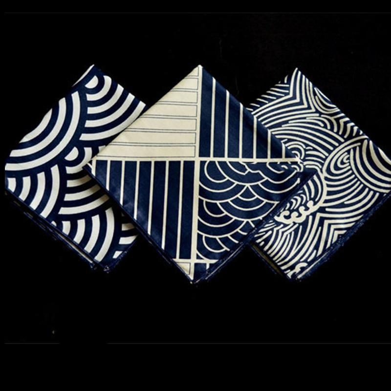 Furoshiki Poszet Kajapanese Style Big Hand Kerchief Furoshiki Japan Classic Tradition Waves Clouds Grid Printed 25cm / Many Uses