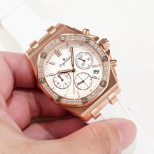 Luxury Brand New Women Chronograph Stopwatch Sapphire Stainless Steel Luminous Watch Rubber Rose Gold Diamonds Bezel Waterproof(China)