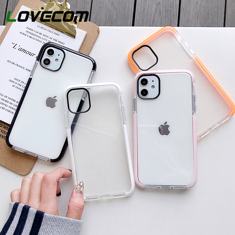 LOVECOM Shockproof Phone Case For IPhone 11 Pro Max XR XS Max 7 8 Plus X Soft TPU Solid Color Clear Phone Back Cover Coque Case