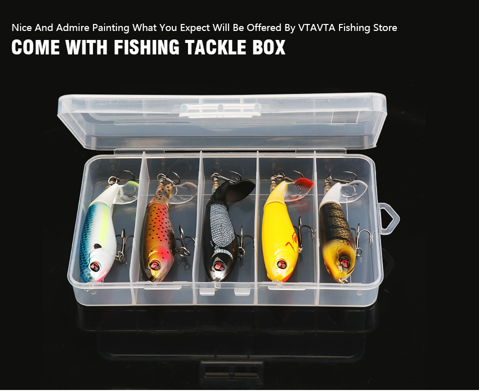 VTAVTA 5pcsLot Whopper Popper Pencil Lure Topwater Pike Wobblers Fishing Lure Set Bass Fishing Crankbaits With Rotating Tail 013