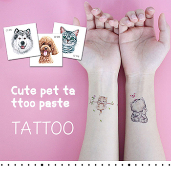 RocooArt cartoon cat dog stickers new waterproof children's animal tattoo stickers Art Tattoos environmental fun for baby kids image